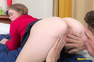 Young guy Bruce Venture came to his girlfriend Madison Chandler's house and seduced her for fuck and suck.