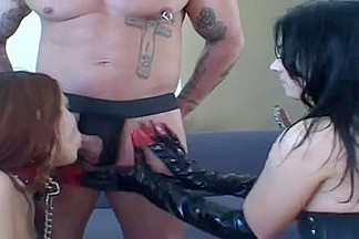 Sex in spandex catsuit video with hot lesbian rimming