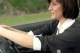 MILF masturbating in car
