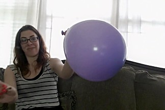 Sammy blows up a balloon with smoke then pops it