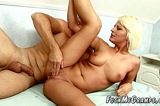 Blonde moaning loud while fucked by grandpa