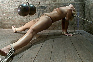Elbows Bound, Spread On The Floor, Made To Cum Over And Over Crotch Rope Double Bind.  Ouchy - HogTied