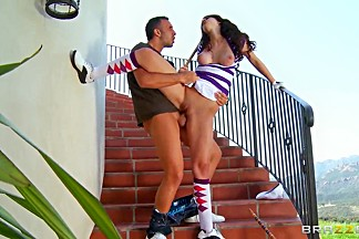 Fantastical busty bombshell Karina White and Keiran Lee on the stairs