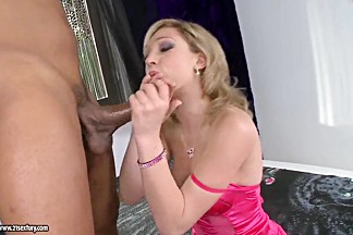 Slutty pale blonde Lily LaBeau sucks a black cannon