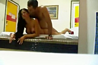 Latina partyslut loves this big mirror at her one night stand's place !!!
