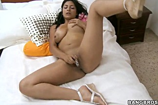 Brunette Allyson with big tits enjoys full solo and massive blowjob