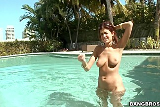 Isis Taylor takes on huge cock in swimming pool