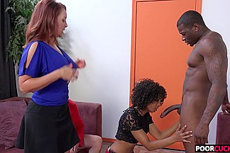 Cuckold watching his Hotwife Janet Mason and Misty Stone taking a BBC