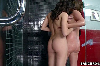 Three sexy lesbians are naked in the basement
