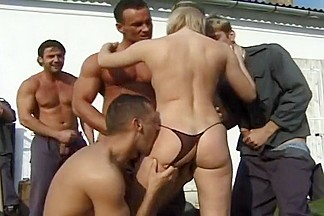 Laura's Tight Asshole Used By Six Men