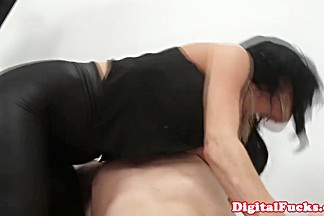 Ava Adams scissors Nikki Benz outside