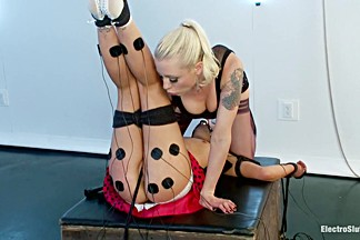 High voltage electro-domination! Juliette March and Lorelei Lee