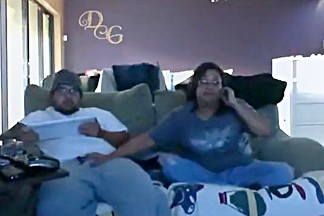 Nerdy fat girl sucks cock and gets doggystyle fucked on the sofa