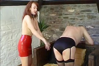 Sissy thong-on drilled by Female-Dominator