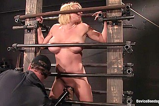 Krissy lynn big titted  blond  trapped in the big squeeze.