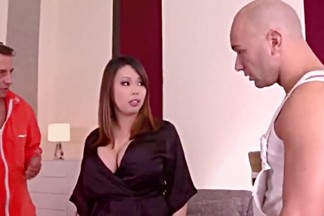 Horny asian with big boobs tigerr benson double penetration