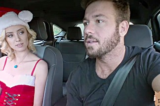 Horny hitchhiker Haley Reed fucks a strangers fat cock