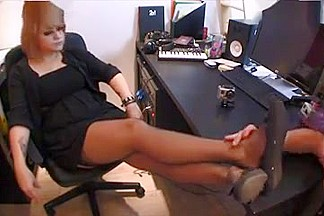 French mistress in stockings and well worn flats