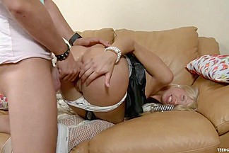 Inexperienced Blond Heather Takes Her First Anal Creampie