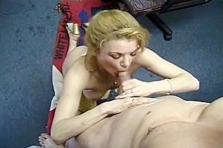 Blonde In A Thong Bends Over For Blowjob