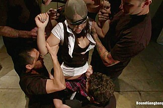 Hot Brunette Fantasizes of Being Dressed in Uniform and Aggressively Assfucked by a Group of Men