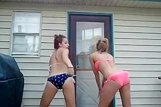 Two playful bombshells in homemade movie