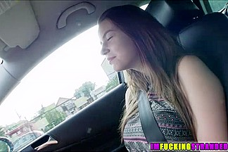 Hot Marina rides around while topless then she fucks driver for the ride