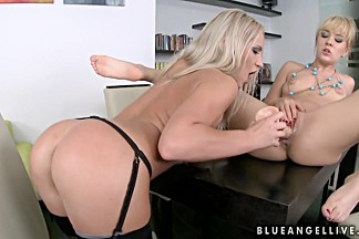 Blue Angel and Britney Spring poked with dildo in cunt