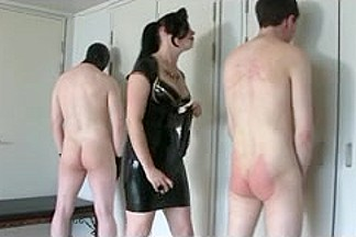 Two sissy serfs and one kinky dominatrix having fun