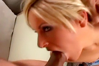 Tanned blonde babe Courtney Simpson with two cocks