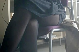 Black Tights Under Desk in Library!