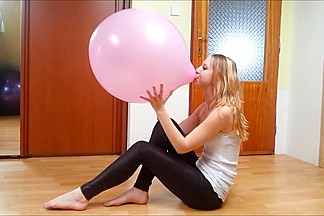 Sexy girl Blowing Big Balloon