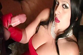 Red Luxury Leather Lady - Blowjob Handjob with Red Leather Gloves - Suck my Balls - Fuck my Pussy - Cum in my Face