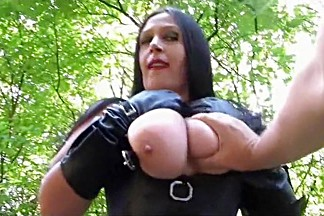 Dirty Slut with Long Leather Gloves - Outdoor Blowjob Handjob in the Forrest - Cum on my Big Natural Tits
