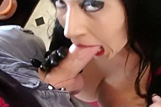Dirty Rubber Housewife in the Kitchen - Blowjob Handjob with Black Latex Gloves - Cum on my Tits