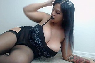 Indian emo gothic chick playing for webcam