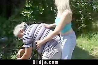 Shameless blonde is rimming grandpa's hairy ass
