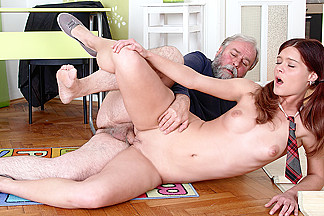 TrickyOldTeacher - Old teacher fucks his sexy College student right in the classroom