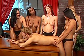 Incredible pornstars Ariel Alexis, Veronica Rayne and Ashley Marie in hottest gangbang, redhead adult movie