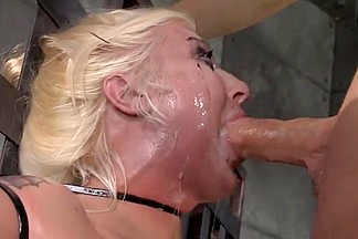 Spit covered face from BDSM face fuck