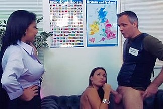 British Breasty Alexis Silver in a Ffm trio in the office