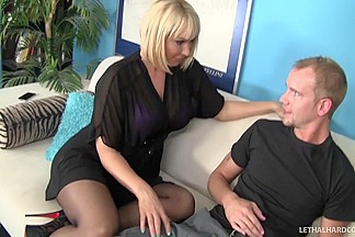 Blonde MILF Mellanie Monroe fucks step sons huge cock and tastes cum - LethalHardcore