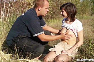 Busty teen goddess gets fucked outdoors by a fake police guy