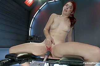 Long Legs, Firey Red Hair, Milky Skin and Machines fucking Her Pussy