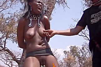 Hot African slave girl bows down to BBC