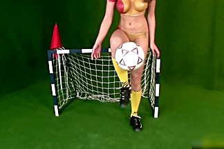 Body paint in the romanian football strip.