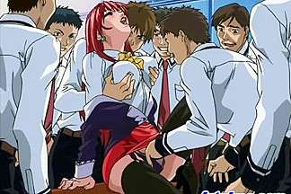 Redhead manga chick in group-sex act