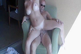 golden-haired wife having sex on the balcony
