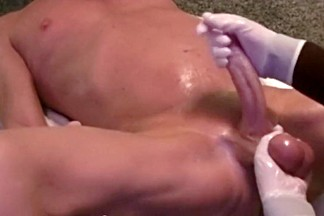 Stunning oiled up handjob with latex gloves