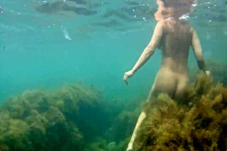 naked woman underwater